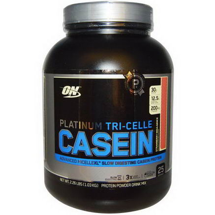 Optimum Nutrition, Platinum Tri-Celle Casein, Strawberry Indulgence, 2.26 lbs (1.03 kg)