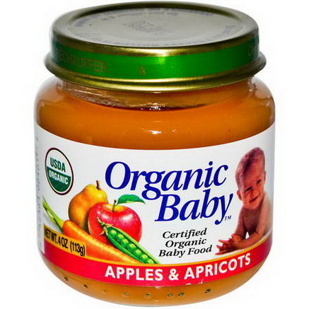 Organic Baby, Certified Organic Baby Food, Apples & Apricots, 4oz (113g)