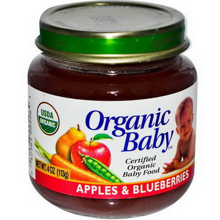 Organic Baby, Certified Organic Baby Food, Apples & Blueberries, 4oz (113g)