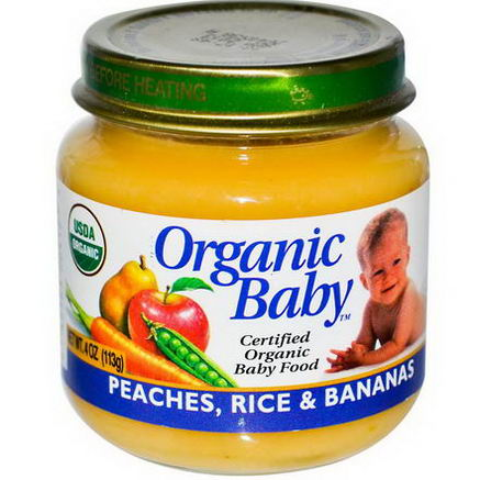 Organic Baby, Certified Organic Baby Food, Peaches, Rice & Bananas, 4oz (113g)