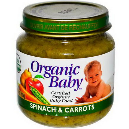 Organic Baby, Certified Organic Baby Food, Spinach & Carrots, 4oz (113g)