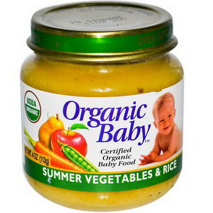 Organic Baby, Certified Organic Baby Food, Summer Vegetables & Rice, 4oz (113g)