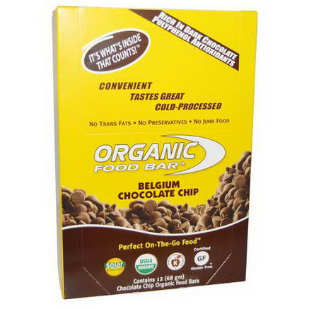 Organic Food Bar, Belgium Chocolate Chip, 12 Bars (68g) Each