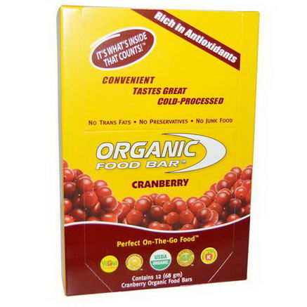 Organic Food Bar, Cranberry, 12 Bars (68g) Each