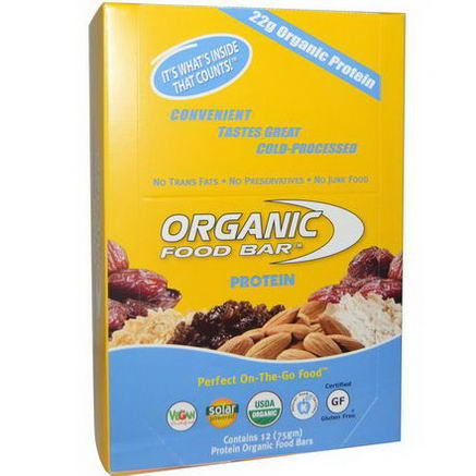 Organic Food Bar, Protein, 12 Bars, (75g) Each
