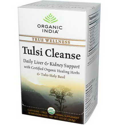 Organic India, Tulsi Cleanse Tea, Caffeine-Free, 18 Infusion Bags, 1.02oz (28.8g)