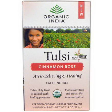 Organic India, Tulsi Holy Basil Tea, Caffeine-Free, Cinnamon Rose, 18 Infusion Bags, 1.14oz (32.4g)