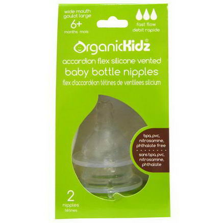 Organic Kidz, Accordion Flex Silicone Vented Baby Bottle Nipples, Wide Mouth, Fast Flow, 2 Nipples