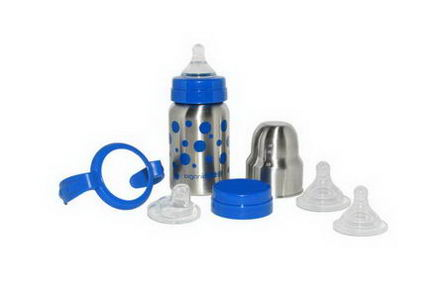 Organic Kidz, Baby Grows Up Stainless Steel Bottle Set, Wide Mouthed, Blue, 9oz (270 ml)