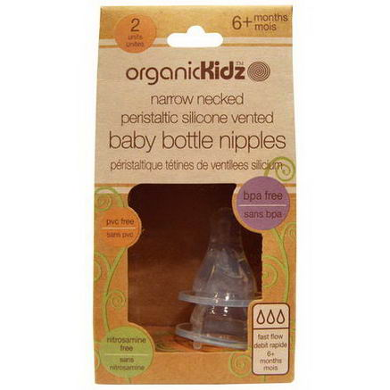 Organic Kidz, Narrow Necked Peristaltic Silicone Vented Baby Bottle Nipples, 6+ Months, 2 Units