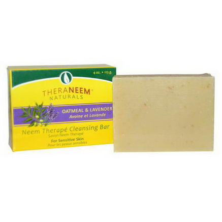 Organix South, TheraNeem Naturals, Neem Therapy Cleansing Bar, Oatmeal & Lavender, 4oz (113g)