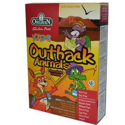 Orgran, Gluten Free Kids Outback Animals, Chocolate Cookies, 6.2oz (175g)