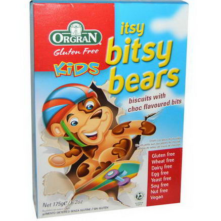 Orgran, Kids Itsy Bitsy Bears, Biscuits with Choc Flavored Bits, 6.2oz (175g)