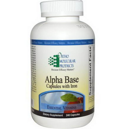 Ortho Molecular Products, Alpha Base, Capsules with Iron, 240 Capsules