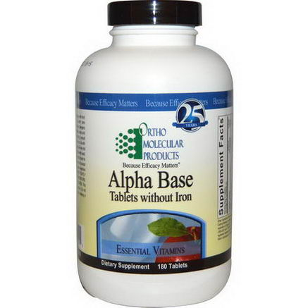 Ortho Molecular Products, Alpha Base, Tablets Without Iron, 180 Tablets