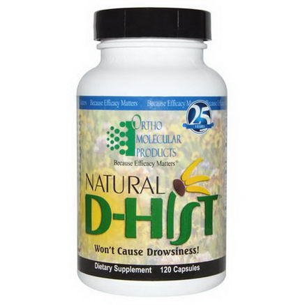 Ortho Molecular Products, Natural D-Hist, 120 Capsules