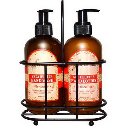 Out of Africa, Hand Caddy, Hand Wash & Lotion Set, Geranium, 2 Piece Set