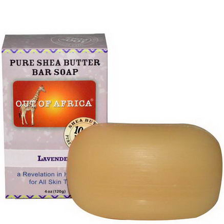 Out of Africa, Pure Shea Butter Bar Soap, Lavender, 4oz (120g)