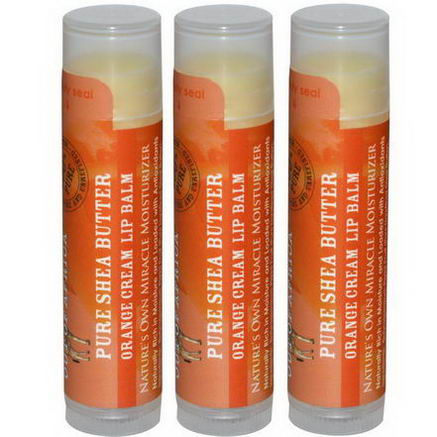 Out of Africa, Pure Shea Butter Lip Balm, Orange Cream, 3 Pack, 0.15oz (4g) Each