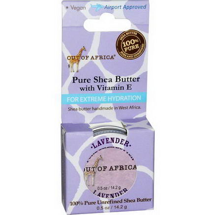 Out of Africa, Pure Shea Butter with Vitamin E, For Extreme Hydration, Lavender, 0.5oz (14.2g)