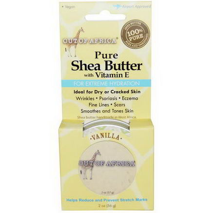 Out of Africa, Pure, Shea Butter with Vitamin E, Vanilla, 2oz (56g)