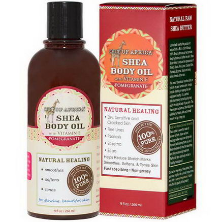Out of Africa, Shea Body Oil with Vitamin E, Pomegranate, 9 fl oz (266 ml)