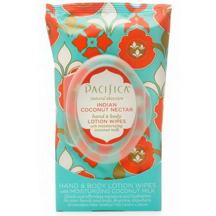Pacifica Perfumes Inc, Hand & Body Lotion Wipes, Indian Coconut Nectar, 30 Paraben Free Towelettes