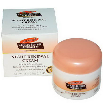 Palmer's, Cocoa Butter Formula, Night Renewal Cream, Fresh White Lily Fragrance, 2.7oz (75g)