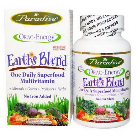 Paradise Herbs, ORAC-Energy, Earth's Blend, One Daily Superfood Multivitamin, No Iron, 30 Veggie Caps
