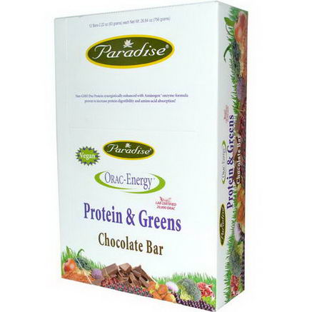 Paradise Herbs, ORAC-Energy, Protein & Greens, Chocolate Bar, 12 Bars, 2.22oz (63g) Each
