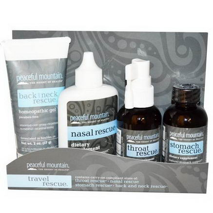 Peaceful Mountain, Travel Rescue, 4 Piece Travel Kit