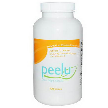 Peelu, Chewing Gum with Xylitol, Citrus Breeze, 300 Pieces