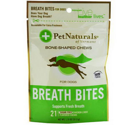 Pet Naturals of Vermont, Breath Bites, For Dogs, Sugar Free, 21 Chicken Liver Flavored Chews