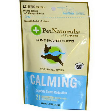Pet Naturals of Vermont, Calming, For Small Dogs, Chicken Liver, 21 Bone-Shaped Chews