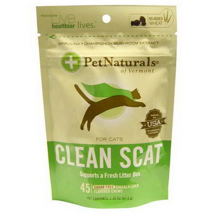 Pet Naturals of Vermont, Clean Scat for Cats, Sugar Free Chicken Liver Flavor Chew, 45 Chews