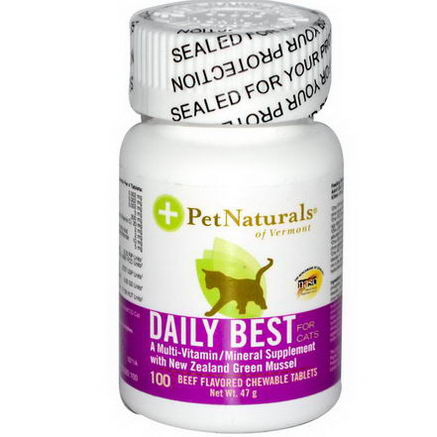 Pet Naturals of Vermont, Daily Best, A Multi-Vitamin/Mineral Supplement for Cats, Beef Flavored, 100 Chewable Tablets