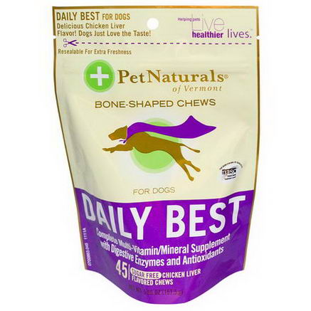 Pet Naturals of Vermont, Daily Best, Complete Multi-Vitamin/Mineral Supplement for Dogs, Chicken Liver Flavor, 45 Chews