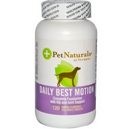 Pet Naturals of Vermont, Daily Best Motion, for Dogs, 120 Smoke Flavored Chewable Tablets