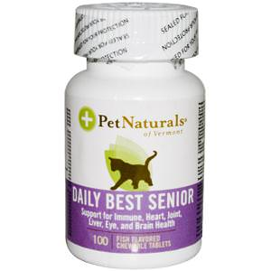 Pet Naturals of Vermont, Daily Best Senior, For Cats, 100 Fish Flavored Chewable Tablets
