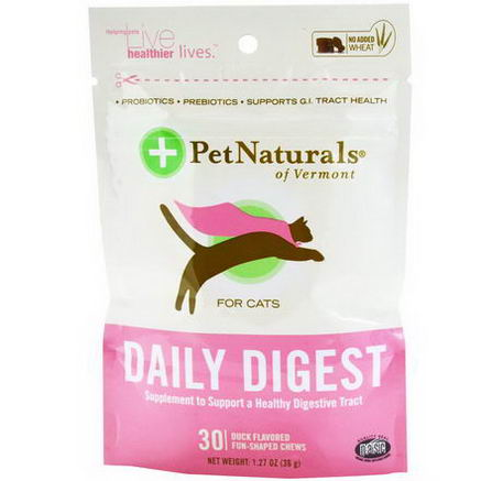 Pet Naturals of Vermont, Daily Digest, For Cats, 30 Duck Flavored Fun-Shaped Chews, 1.27oz (36g)