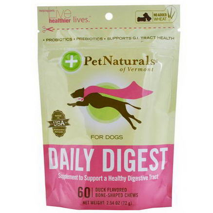 Pet Naturals of Vermont, Daily Digest, For Dogs, 60 Duck Flavored Bone-Shaped Chews, 2.54oz (72g)