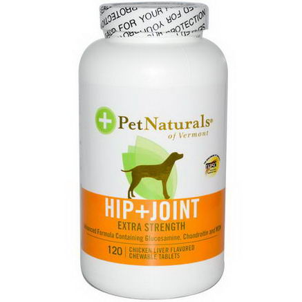 Pet Naturals of Vermont, Hip + Joint, Extra Strength, For Dogs, 120 Chicken Liver Flavored Chewable Tablets