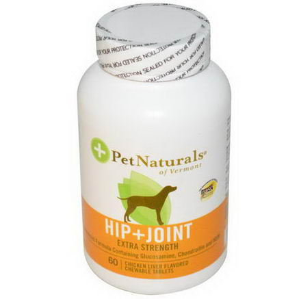 Pet Naturals of Vermont, Hip + Joint, Extra Strength for Dogs, 60 Chicken Liver Flavored Chewable Tablets