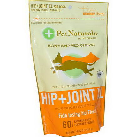 Pet Naturals of Vermont, Hip + Joint XL for Dogs, Bone-Shaped Chews, Chicken Liver Flavored, 60 Chews