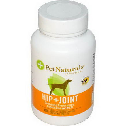 Pet Naturals of Vermont, Hip + Joint for Dogs, Chicken Liver Flavored, 60 Chewable Tablets