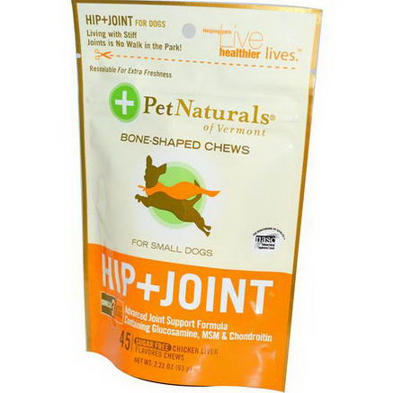 Pet Naturals of Vermont, Hip + Joint for Small Dogs, Boned-Shaped Chews, Sugar Free, Chicken Liver, 45 Chews