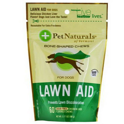 Pet Naturals of Vermont, Lawn Aid for Dogs, Sugar Free, 60 Chicken Liver Flavored Chews