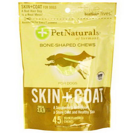 Pet Naturals of Vermont, Skin + Coat, For Dogs, 45 Duck Flavored Chews, 5.56oz (157.5g)