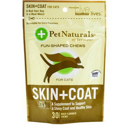 Pet Naturals of Vermont, Skin + Coat for Cats, 30 Duck Flavored Chews, 1.85oz (52.5g)