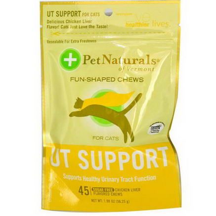 Pet Naturals of Vermont, UT Support, for Cats, 45 Chicken Liver Flavored Chews, 1.98oz (56.25g)